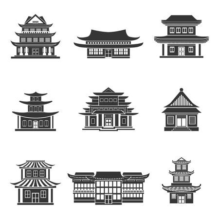 tempels: Chinees huis oude tempels traditionele oosterse gebouwen zwarte pictogrammen instellen geïsoleerde vector illustratie