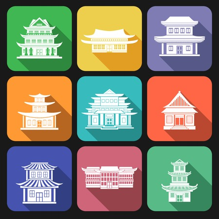 Chinese house traditional wooden oriental buildings flat icons set isolated vector illustration Vector