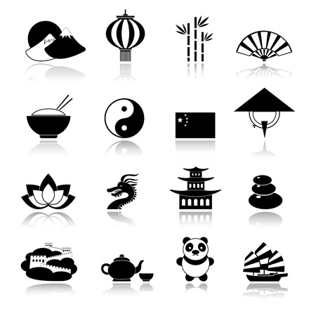 great wall: China travel traditional culture symbols black icons set with dragon panda rice isolated vector illustration