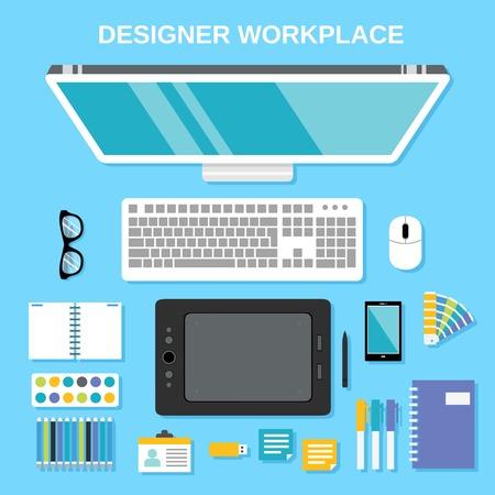 Graphic designer studio tools workplace top view vector illustration