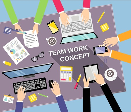 bovenaanzicht mens: Business team teamwork concept bovenaanzicht mensen op tafel vector illustratie