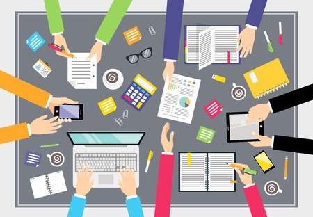 workday: Business people teamwork concept top view people on squared table vector illustration Illustration