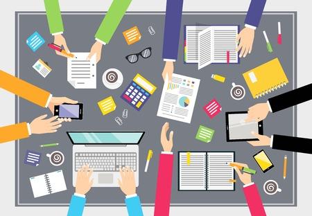 bovenaanzicht mens: Mensen uit het bedrijfsleven teamwork concept mensen op vierkant tafel vector illustratie bovenaanzicht