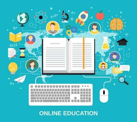 L'éducation en ligne e-learning concept de la science avec l'ordinateur de livre et étudier icônes illustration vectorielle Banque d'images - 31725832