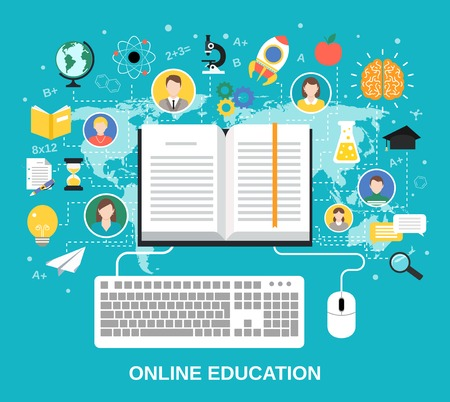 exam: Online education e-learning science concept with book computer and studying icons vector illustration