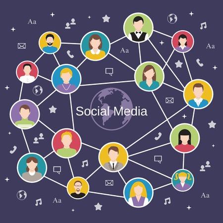 caricaturas de personas: Concepto social de la red de medios con avatares masculinos y femeninos conectada ilustración vectorial