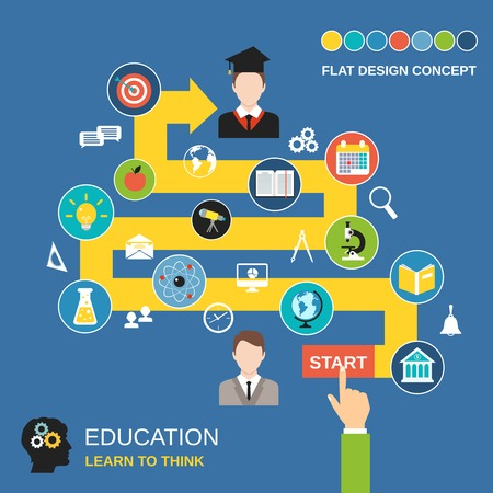exam: Education process science flat design concept with studying icons vector illustration