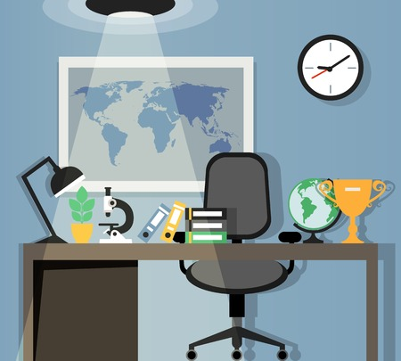 Office workplace with table chair lamp and world map on background flat design vector illustration Vector