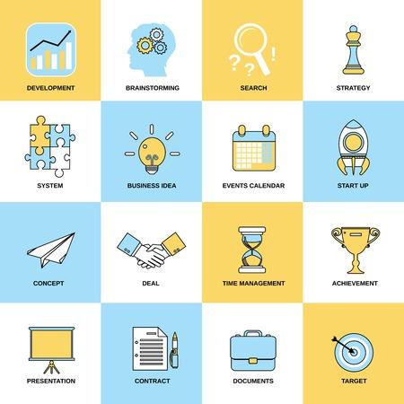 Business pictogrammen vlakke lijn set van ontwikkeling brainstormen zoeken geïsoleerd vector illustratie
