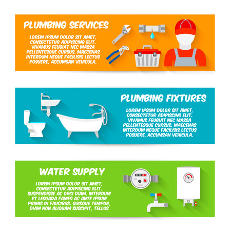 plumbing supply: Plumbing service fixtures water supply icons horizontal banners set isolated vector illustration Illustration