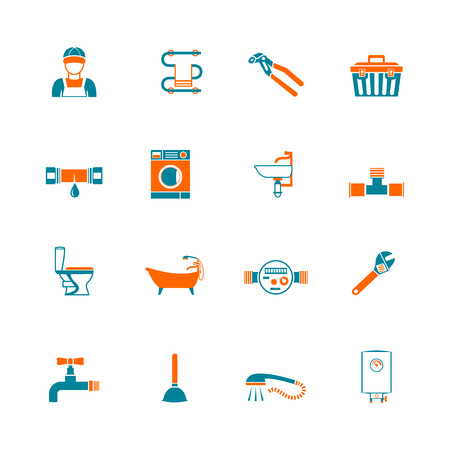 fixtures: Plumbing service water fixtures toolbox icons set isolated vector illustration