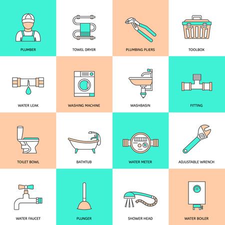 Loodgieterswerkdienst water armaturen pictogrammen geïsoleerd vlakke lijn set vector illustratie