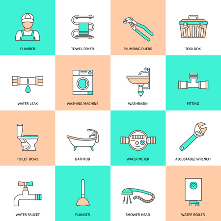fixtures: Plumbing service water fixtures icons flat line set isolated vector illustration