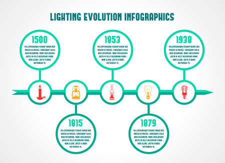 Flashlight and lamps energy saving timeline infographic vector illustration Vector