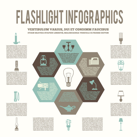 electric torch: Flashlight and lamps energy saving flat hexagon infographic vector illustration