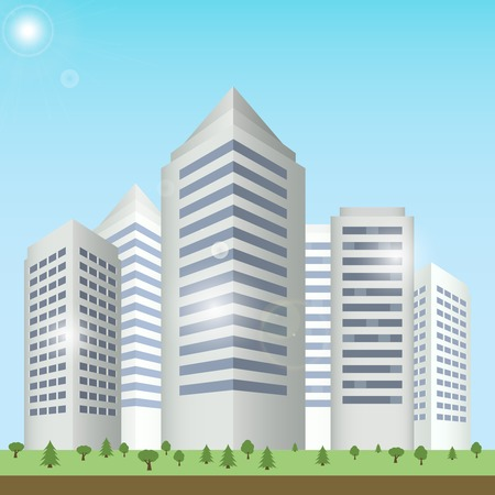 urban building: Modern urban building on street cityscape skyline vector illustration. Illustration