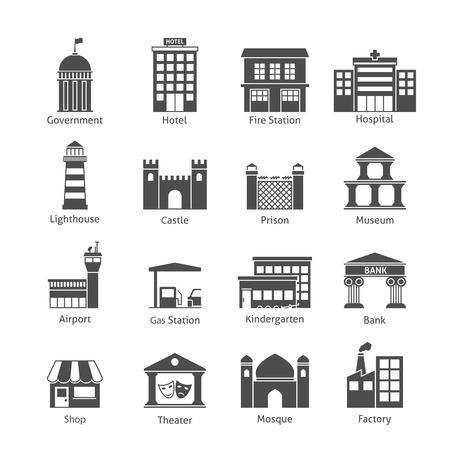 Regierungsgebäude Icons schwarze Reihe von Hotel Feuerwache Krankenhaus isoliert Vektor-Illustration