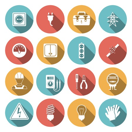 Electricity icon flat set with electronic equipment isolated vector illustration