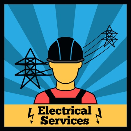 electric plug: Electricity icon poster with electrician silhouette and power line vector illustration