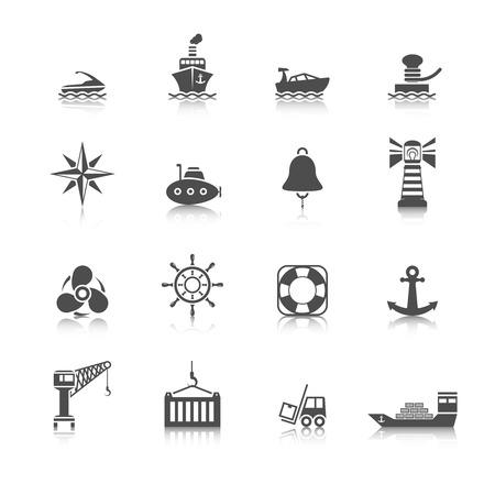 Sea port ocean transport icons black set isolated vector illustration Vector