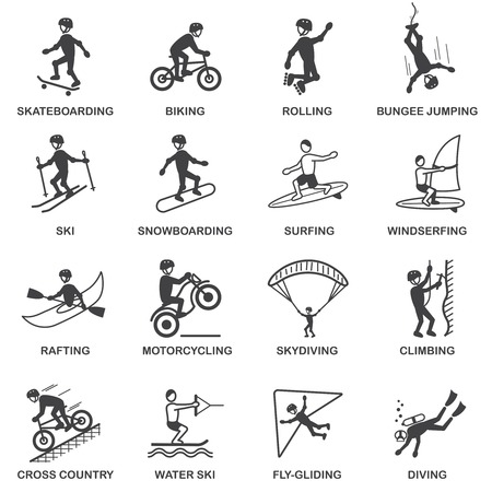 Vacation travel extreme sports icons set of skateboard snowboard skydiving and bungee jumping vector illustration Vector