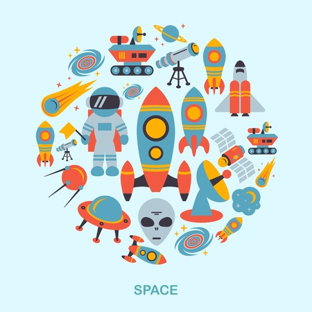 Space and astronomy icons flat set of rocket satellite earth alien vector illustration