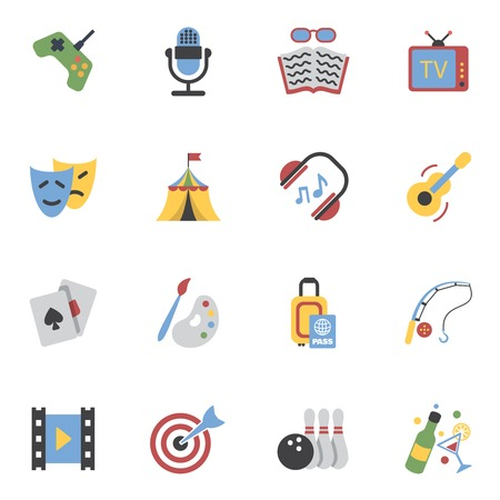 event icon: Entertainment and amusement events flat icons set isolated vector illustration