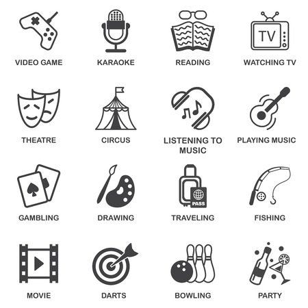 Entertainment celebration and amusement events black icons set isolated vector illustration Vector