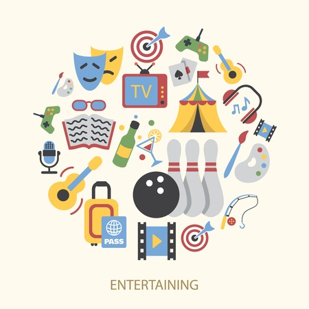 Entertainment icons set with gambling bowling karaoke vector illustration Stock Vector - 31726033
