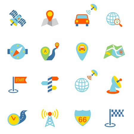 Mobile gps navigation and travel flat icons set isolated vector illustration Vector