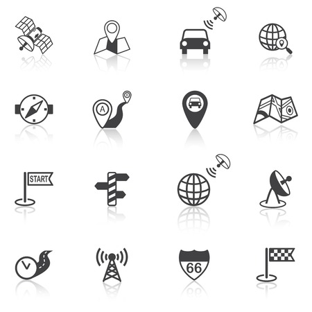 Mobile gps street navigation and travel black icons set isolated vector illustration Vector