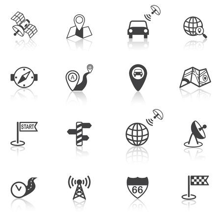 navigate: Mobile gps street navigation and travel black icons set isolated vector illustration Illustration