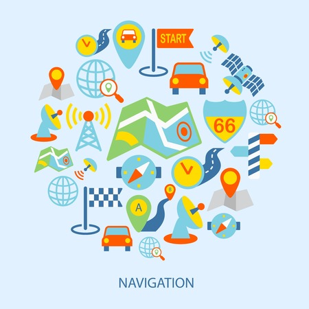 routing: Mobile navigation geolocation routing mapping flat icons set vector illustration.