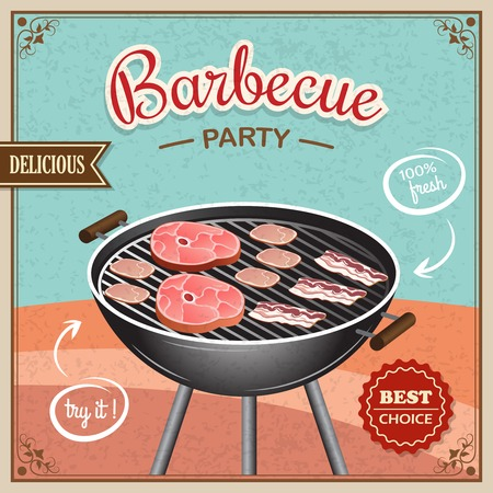 barbecue fire: Bbq grill party best choice flyer promo restaurant poster vector illustration
