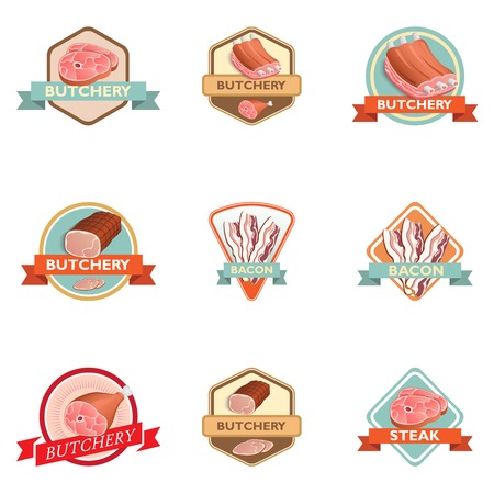 Meat label retro butchery set isolated vector illustration