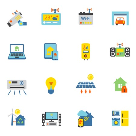 Smart home automation technology icons flat set isolated vector illustration Vector
