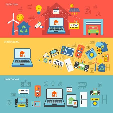 Smart home detectoren beheersen van het aansluiten van systemen horizontale banner set geïsoleerd vector illustratie Stockfoto - 31726044