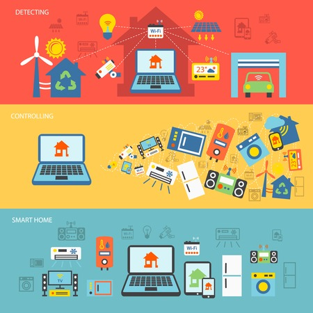 Smart home detectors controlling connecting systems horizontal banner set isolated vector illustration Vector