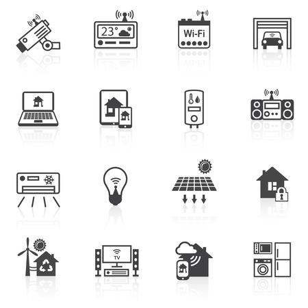 スマート ホーム ユーティリティ セキュリティ コントロール アイコン黒分離セット ベクトル イラスト