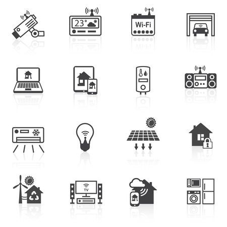 Smart home utilities security control icons black set isolated vector illustration Vector