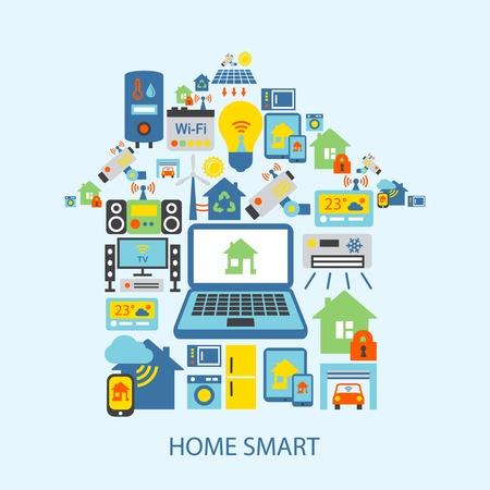 maison: Technologie domotique intelligente ic�nes d�coratifs mis en illustration vectorielle