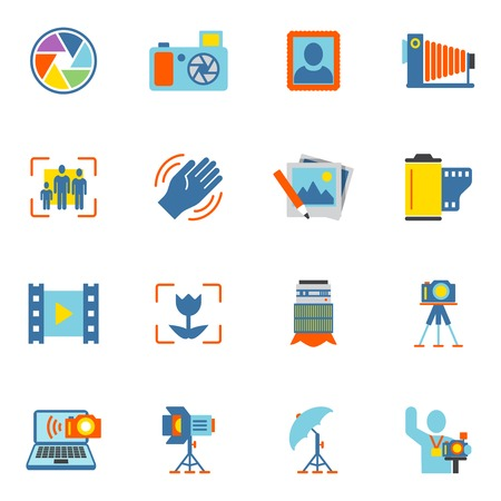 Photography equipment digital camera icons flat isolated vector illustration Vector