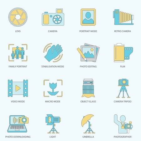 Photography equipment digital camera multimedia icons flat line isolated vector illustration Vector