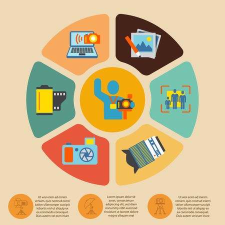 editing: Photography photo equipment mode studio editing infographics set with pie chart vector illustration