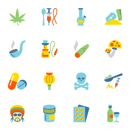 addictive: Abuse addictive poison drugs icons flat set isolated vector illustration. Illustration