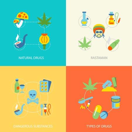 drug addict: Natural drugs dangerous substances flat set isolated vector illustration Illustration