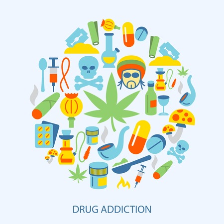 heroin: Abuse addictive poison mushroom drugs decorative icons flat set vector illustration Illustration