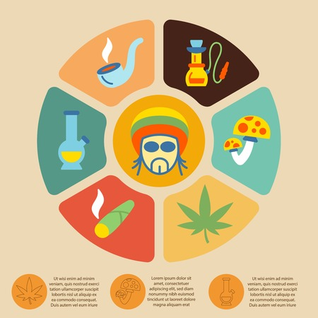 alcohol abuse: Poison smoke death drugs infographic set with pie chart vector illustration