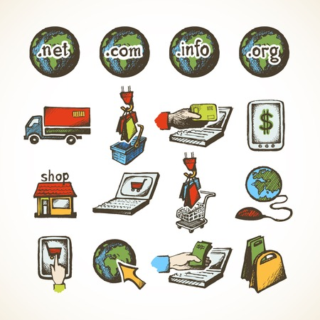 domains: Business internet online shopping icons set of ecommerce retail domains cart purchase and global delivery sketch vector illustration