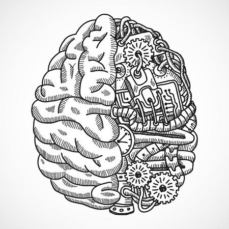 circuitos electronicos: Cerebro humano como boceto m�quina de procesamiento de ingenier�a concepto de ilustraci�n vectorial Vectores